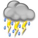 Moderate or heavy rain in area with thunder